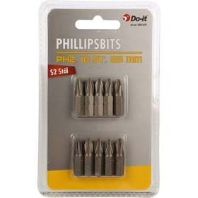 Bitssats Do-it, PH2 S2-stål 25mm 10-pack, 3801678