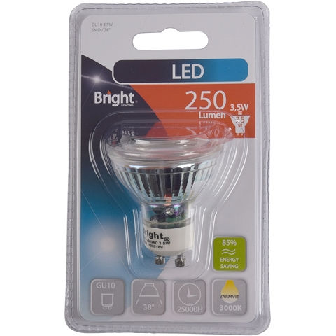 LED-lampa GU10 Bright, 3,5W spot 38° 250 lm, 5000189