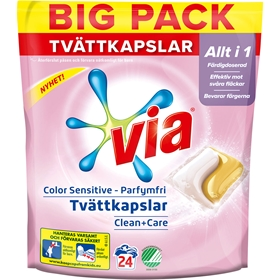 Tvättkapslar Via Color Sensitive, 24-pack, 3608487