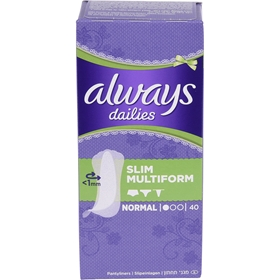 Trosskydd Always Dailies Slim Multiform Normal, 40-pack, 3607606
