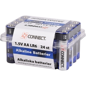 Batteri AA Connect, LR6 alkaliskt 24-pack, 5000250