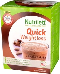 Kostersättning Nutrilett Quick Weight Loss Chocolate  Shake, 15-pack, 4002519