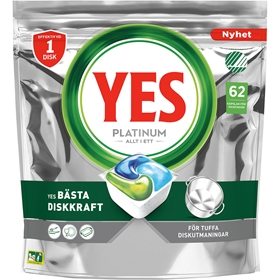 Maskindisktabletter Yes Platinum, 62-pack, 3609581