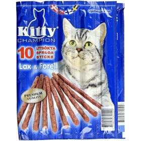 Kattgodis Sjöbogårdens Kitty Sticks Lax & Forell, 10-pack (10x5 g), 2002514
