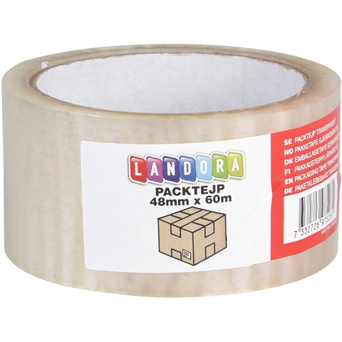 Packtejp Landora, 48mmx60m, transparent, 3804523