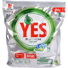 Maskindisktabletter Yes Platinum, 74-pack, 3607683