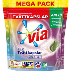 Tvättkapslar Via Color, 40-pack, 3609189