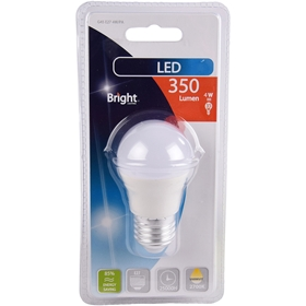 LED-lampa E27 Bright, 4W klot 350 lm, 5000196