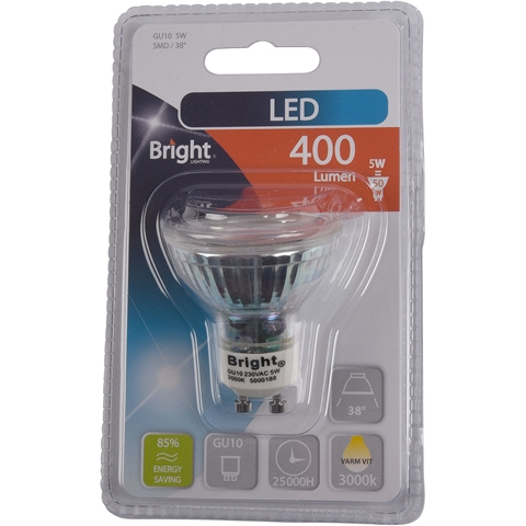 LED-lampa GU10 Bright, 5W spot 38° 400 lm, 5000188