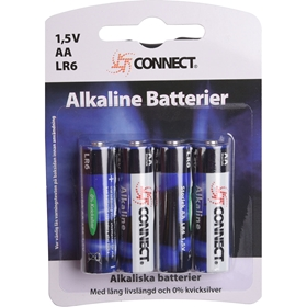 Batteri AA Connect, LR6 alkaliskt 4-pack, 3502837