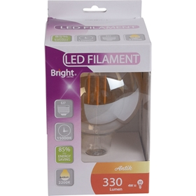 LED-lampa E27 Bright Antik, 4W filament glob G125 330 lm, 5000222