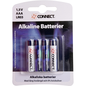 Batteri AAA Connect, LR03 alkaliskt 4-pack, 3502838