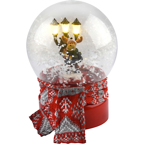 Snöglob med musik LED Bright Ren, batteridriven 3 LED 19 cm, röd, 5000785