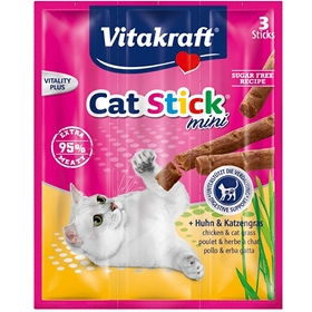 Kattgodis Vitakraft Cat Stick Mini Kyckling & Kattgräs, 3-pack (3x10 g), 4100139