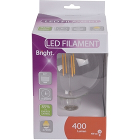 LED-lampa E27 Bright, 4W filament glob G125 400 lm, 5000220
