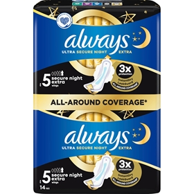 Bindor Always Ultra Secure Night Extra Pads S5, 14-pack, 3609637