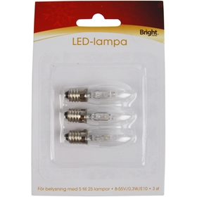 LED-lampa E10 Bright, 0,3W 3-pack, 3502794