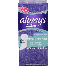 Trosskydd Always Dailies Fresh & Protect Normal Fragrance Free, 30-pack, 3607602