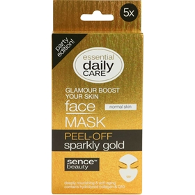 Ansiktsmask Sencebeauty Peel-Off Sparkly Gold, 5-pack, 3608777
