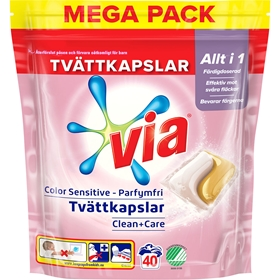 Tvättkapslar Via Color Sensitive, 40-pack, 3609188