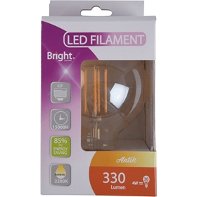 LED-lampa E27 Bright Antik, 4W filament glob G95 330 lm, 5000221