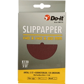 Slippapper, 140x140x80mm K120 5hål kardborrefäste 5-pack, 3801131