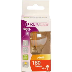 LED-lampa E14 Bright, 2W klot, amber, 5000213