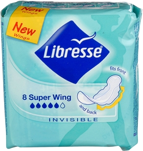 Bindor Libresse Invisible Super Wing, 8-pack, 3601615