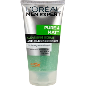 Ansiktsskrubb L'Oréal Men Expert Pure & Matt Cleansing Scrub Anti-Blocked Pores, 150 ml, 3604558