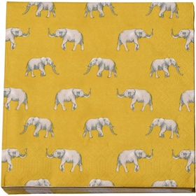 Servetter Elephants, 33x33 cm, senapsgul 20-pack, 3112842