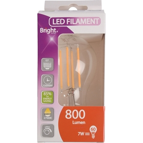LED-lampa E27 Bright, 7W filament klot 800 lm dimbar, 5000209
