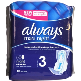 Bindor Always Maxi Night, 10-pack, 3608667
