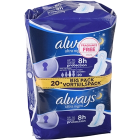 Bindor Always Ultra Night, 20-pack, 1601221