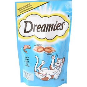 Kattgodis Dreamies Lax, 60 g, 4005841