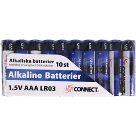 Batteri AAA Connect, LR03 alkaliskt 10-pack, 3502840