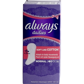 Trosskydd Always Dailies Soft Like Cotton Normal, 30-pack (30x2,2 g), 3607607