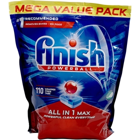 Maskindisktabletter Finish All In 1 Max, 110-pack (110x15,5 g), 3609380