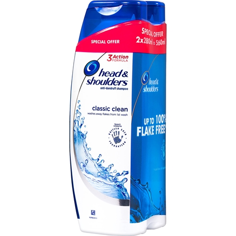 Schampo Head & Shoulders Classic Clean, 2-pack (2x280 ml), 3607882