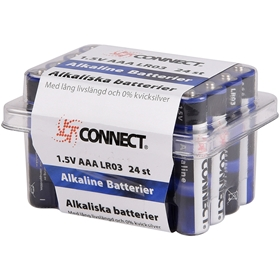 Batteri AAA Connect, LR03 alkaliskt 24-pack, 5000247