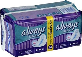 Bindor Always Ultra Long Plus, med vingar 24-pack, 3603055
