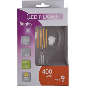 LED-lampa E27 Bright, 4W filament glob G95 400 lm, 5000219