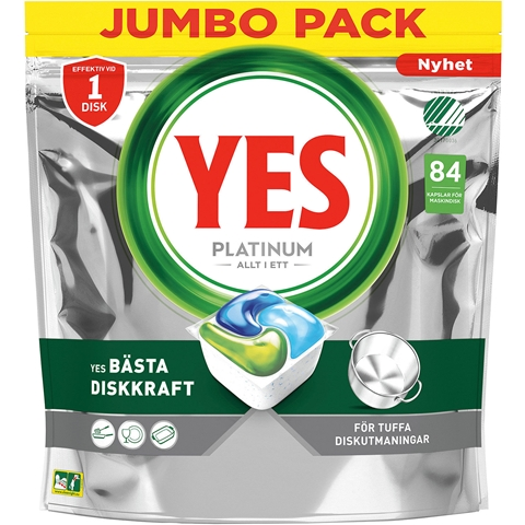 Maskindisktabletter Yes Platinum, 84-pack, 3609583