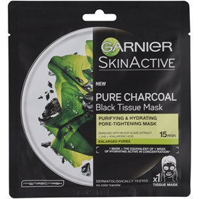 Ansiktsmask Garnier Charcoal Tissue Mask Black Algae, 3608303