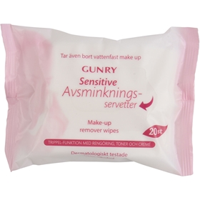 Avsminkningsservetter Gunry Sensitive, 20-pack, 3606662